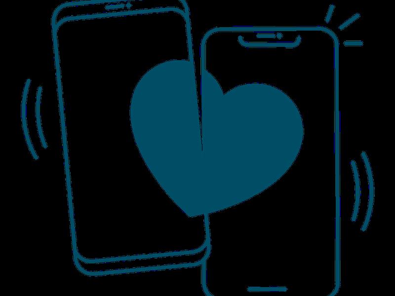 To mobiler med hvert sitt halve hjerte som sammen blir et helt.