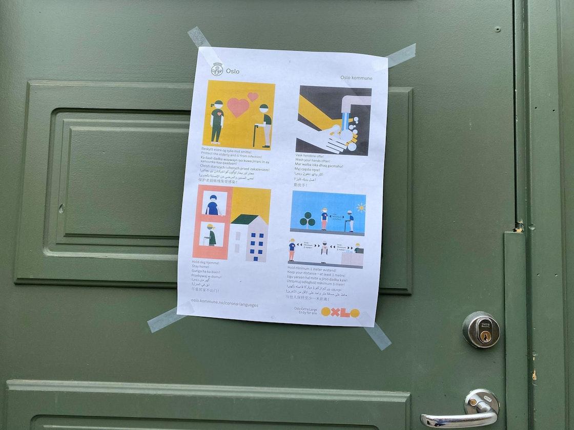 Oslo kommune plakat med informasjon om koronaviruset på 7 forskjellige språk.