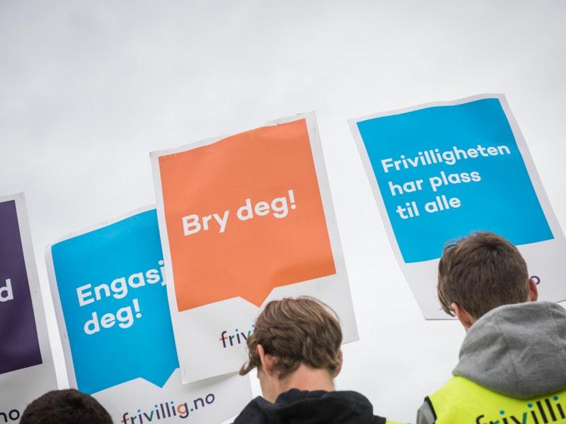 Ungdommer demonstrerer med plakater