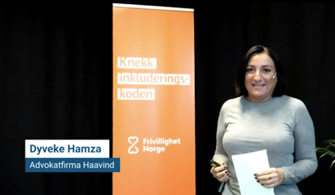Dyveke Hamza fra Advokatfirmaet Haavind holder innlegg på Inkludering på topp 27.10.2020