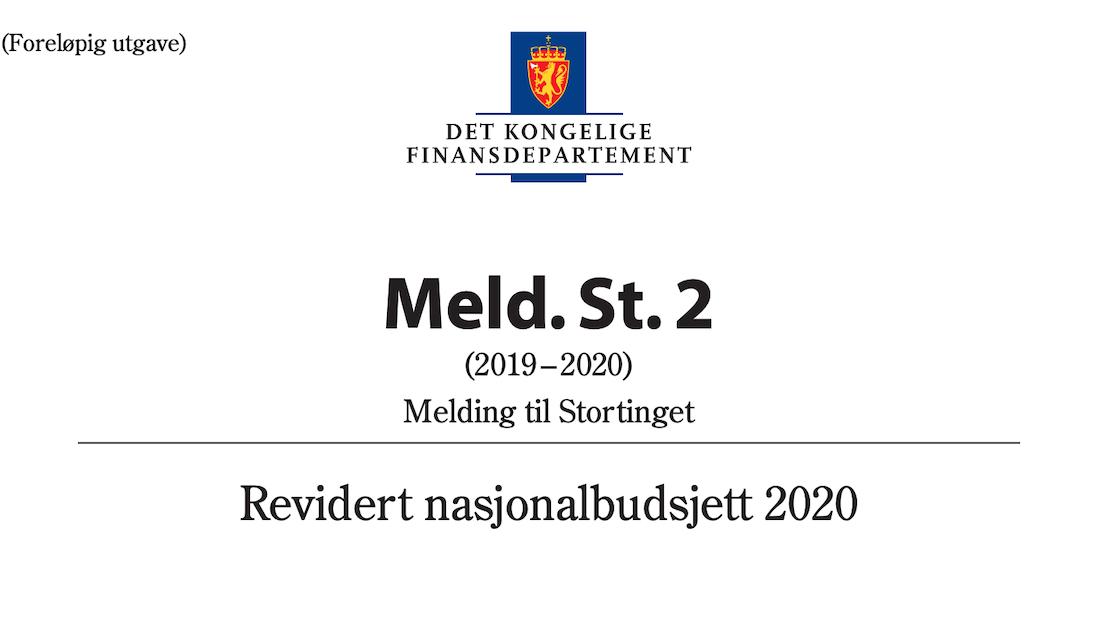 Revidert nasjonalbudsjett for 2020.