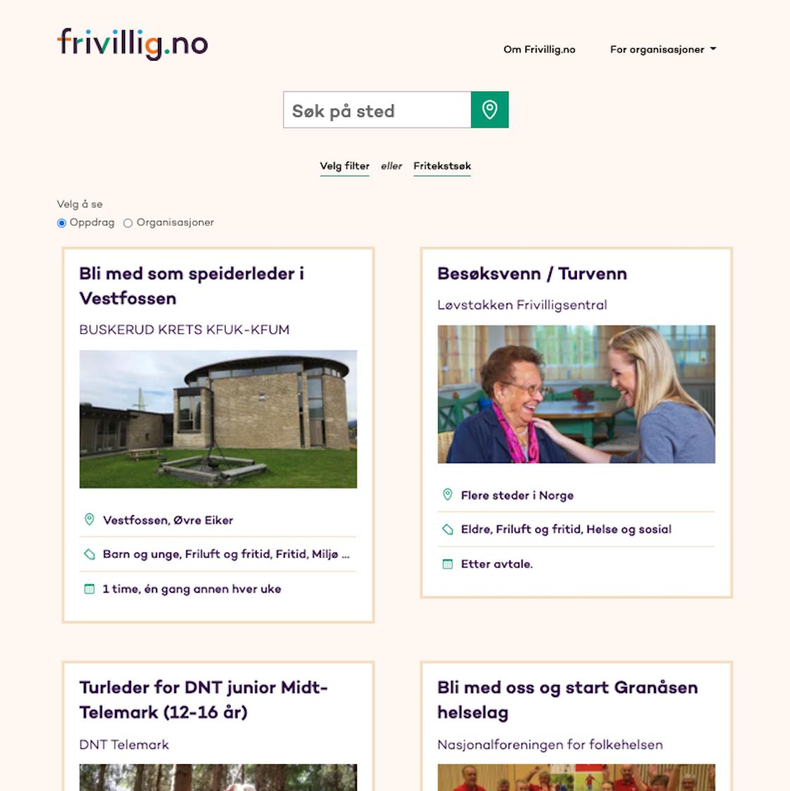 Skjermbilde fra Frivillig.no