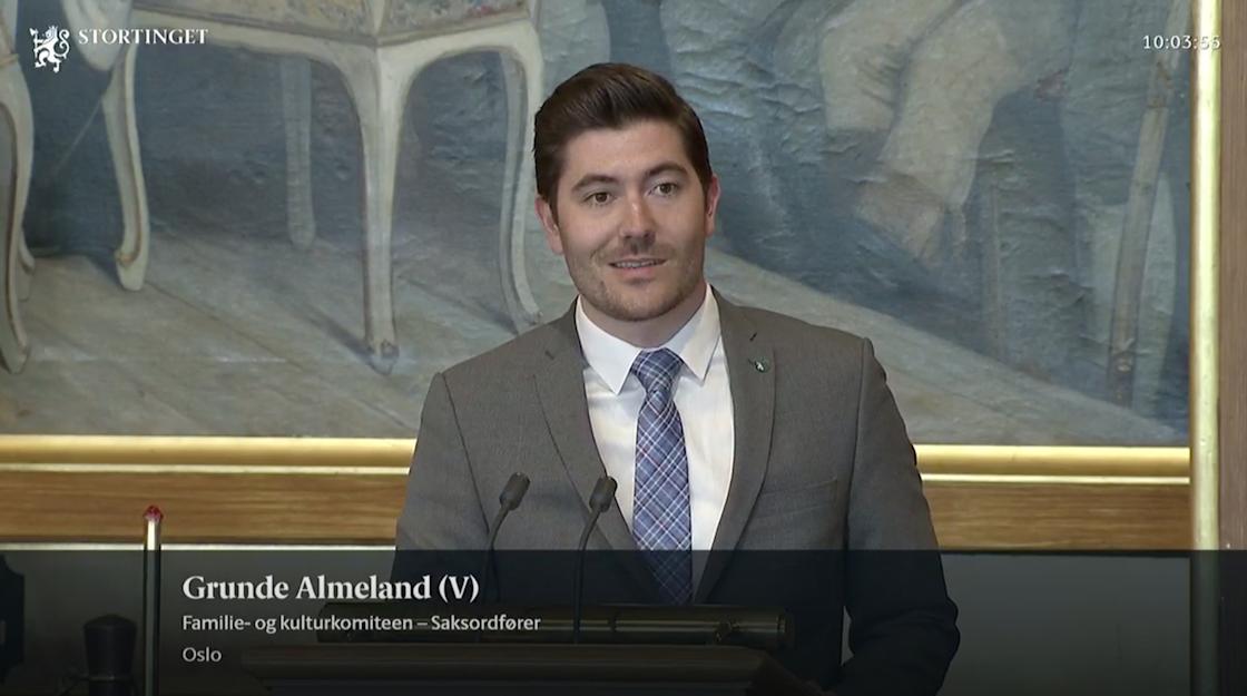 Grunde Almeland på Stortingets nett-TV