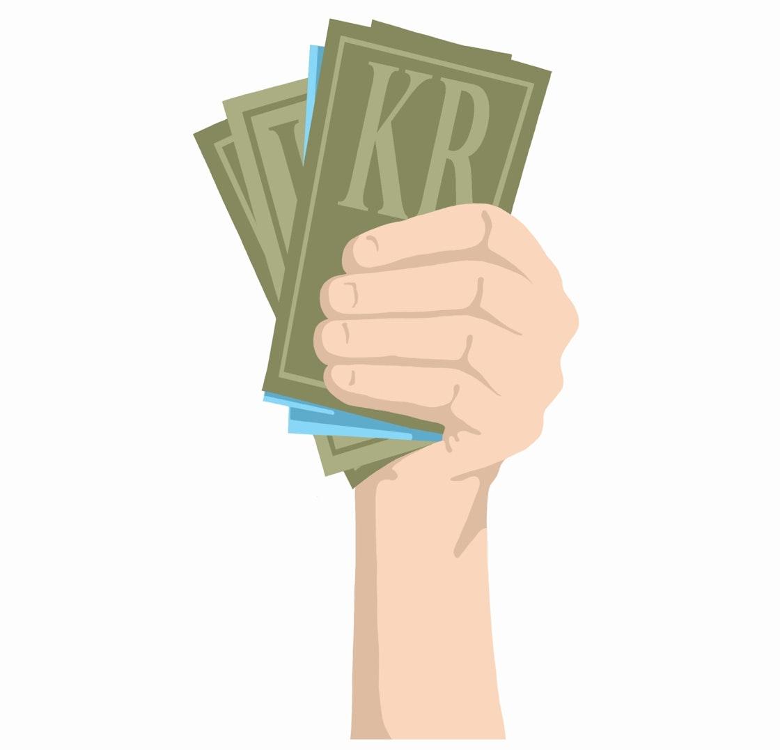 En hånd som holder opp penger