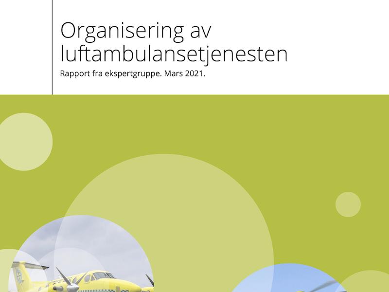 Forsiden av rapporten organisering av luftambulansetjenesten