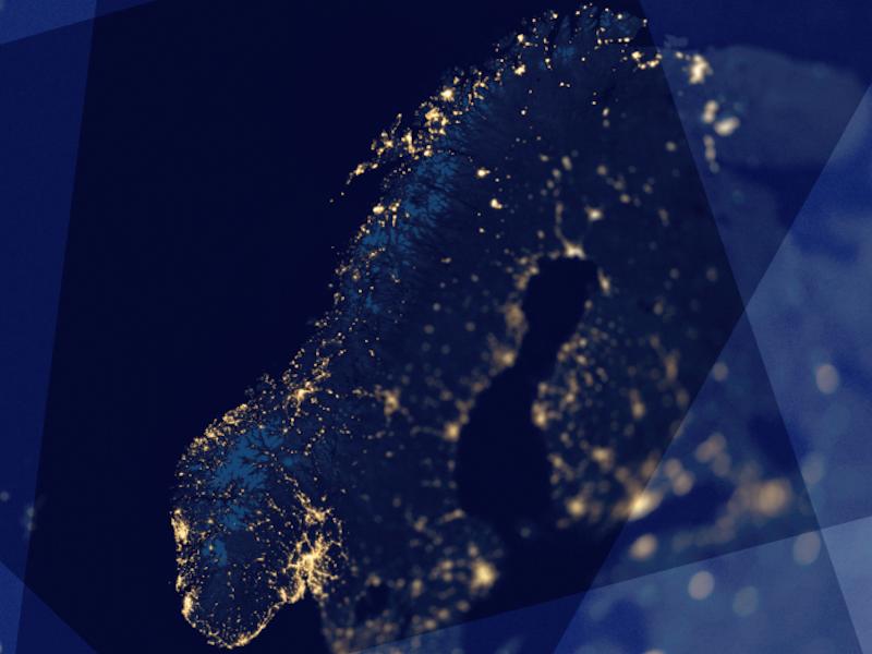 Norgeskart i blått