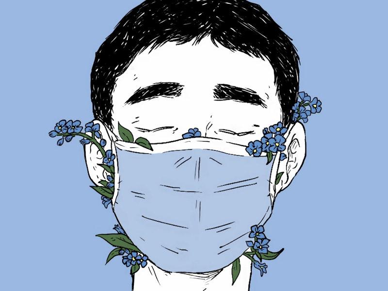 Tegning av mann med munnbind som det stikker blomster ut av