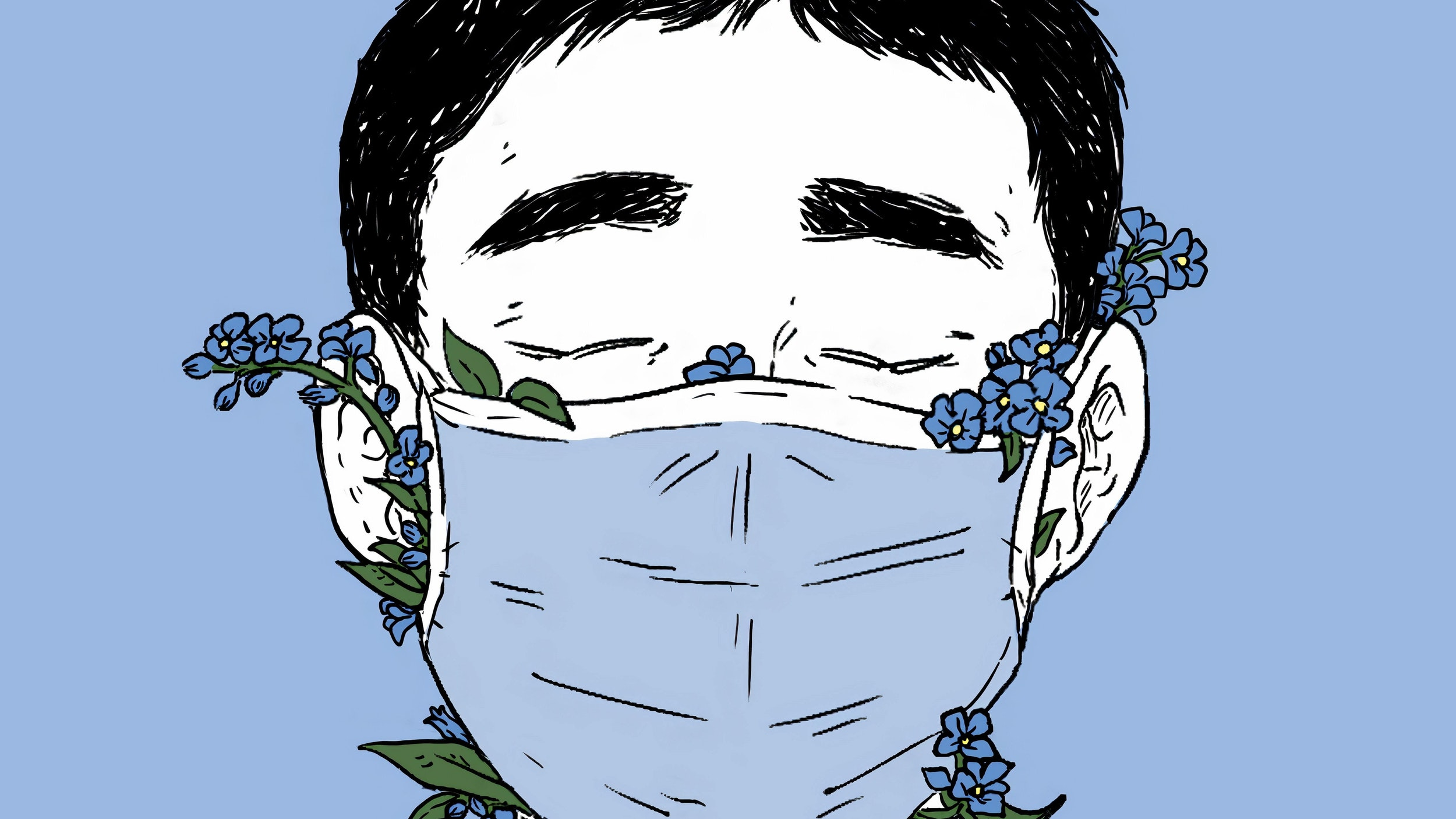 Tegning av mann med munnbind som det stikker blomster ut fra
